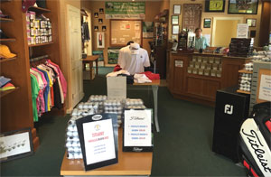 Interior shot of Baytree National Golf Shop showing Shirts, Hats and Golf Balls